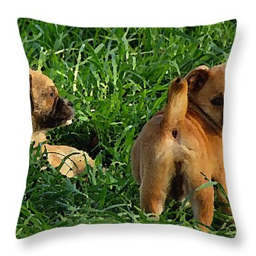 Showing Her Mutt. Throw Pillow
