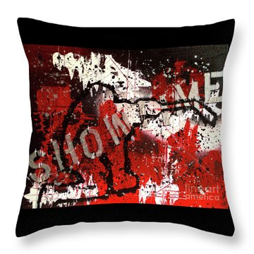 Throw Pillow featuring the painting Showtime At The Madhouse by Melissa Goodrich