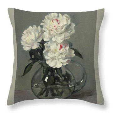 Showy White Peonies In Glass Pitcher Throw Pillow
