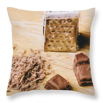 Shredded Chocolate Flakes Fine Art Drawing Throw Pillow