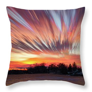 Shredded Sunset Throw Pillow