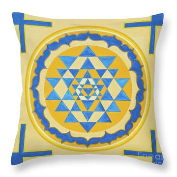 Shri Yantra For Meditation Painted Throw Pillow