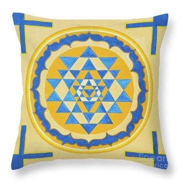Shri Yantra For Meditation Painted Throw Pillow