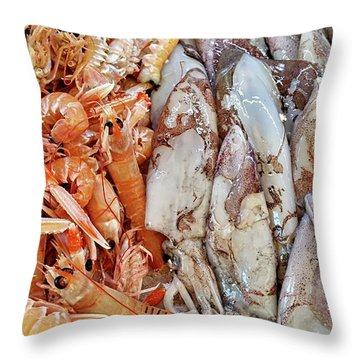 Throw Pillow featuring the digital art Shrimp And Squid - Port Santo Stefano, Italy by Joseph Hendrix