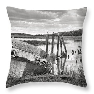 Shrimp Boat Graveyard Throw Pillow