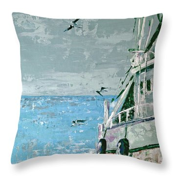 Throw Pillow featuring the painting Shrimp Boat In The Gulf by Suzanne McKee