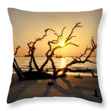 Shrimp Boat Off Driftwood Beach Throw Pillow