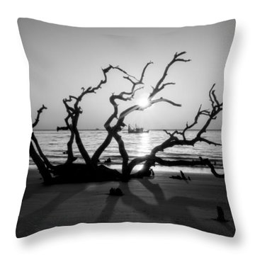 Shrimp Boat Off Driftwood Beach In Black And White Throw Pillow