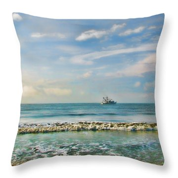 Throw Pillow featuring the photograph Shrimp Boat Off Kiawah by Amy Tyler