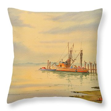 Shrimp Boat Sunset Throw Pillow by Bill Holkham