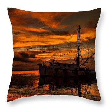 Shrimp Boat Sunset Throw Pillow