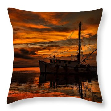 Shrimp Boat Sunset Throw Pillow