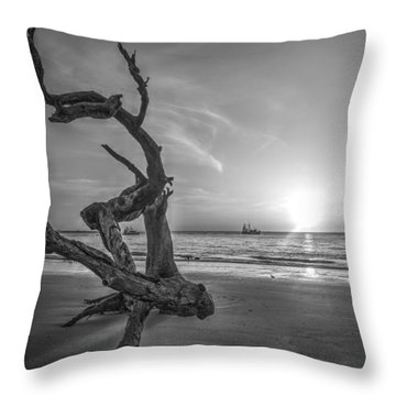 Shrimp Boats And Driftwood Throw Pillow