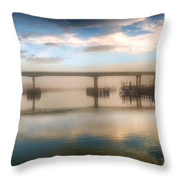 Shrimp Boats At Sunrise Throw Pillow by Renee Sullivan