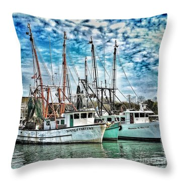 Throw Pillow featuring the photograph Shrimp Boats by Donald Paczynski