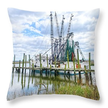 Shrimp Boats Of St. Helena Island Throw Pillow