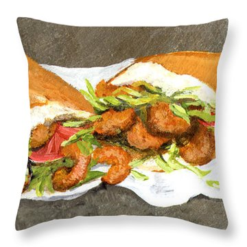 Shrimp On French Dressed Throw Pillow by Elaine Hodges