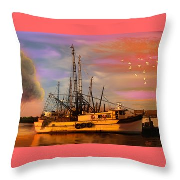 Shrimpers At Dock Throw Pillow