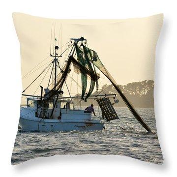 Shrimping At Sunset Throw Pillow