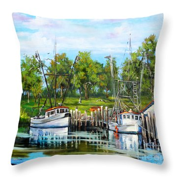 Shrimping Boats Throw Pillow