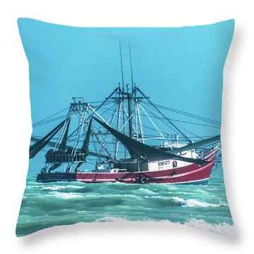 Throw Pillow featuring the photograph Shrimping On A Windy Day In Key West by Bob Slitzan