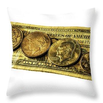 Shrinking Dollars Throw Pillow