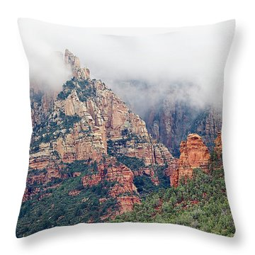 Throw Pillow featuring the photograph Shrouded In Clouds by Phyllis Denton