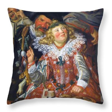 Shrovetide Revellers The Merry Company Throw Pillow