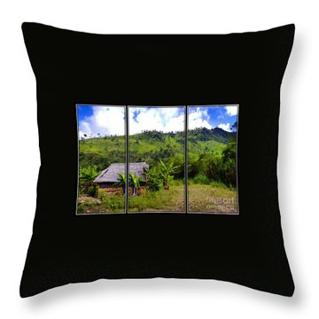 Throw Pillow featuring the photograph Shuar Hut In The Amazon by Al Bourassa