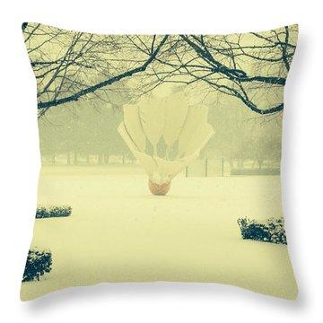Shuttlecock In The Snow Throw Pillow