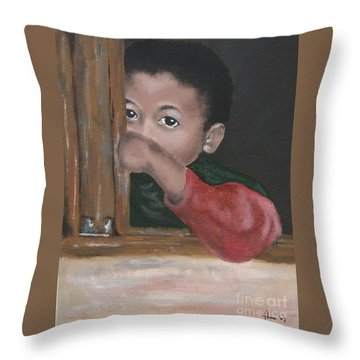Throw Pillow featuring the painting Shy by Annemeet Hasidi- van der Leij