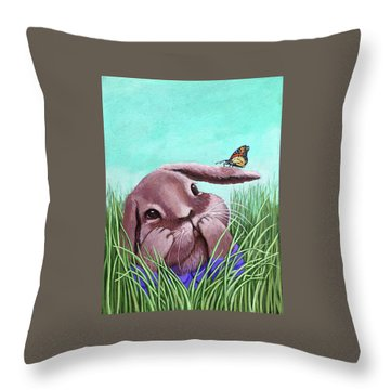 Throw Pillow featuring the painting Shy Bunny - Original Painting by Linda Apple