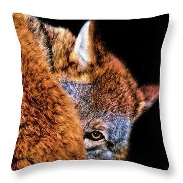 Shy Cyote Throw Pillow by Adam Olsen