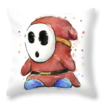 Shy Guy Watercolor Throw Pillow