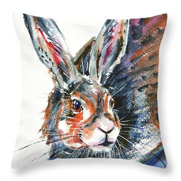 Throw Pillow featuring the painting Shy Hare by Zaira Dzhaubaeva