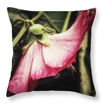 Throw Pillow featuring the photograph Shy Hollyhock by Karen Stahlros