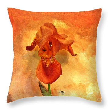 Shy Iris Throw Pillow by Marsha Heiken