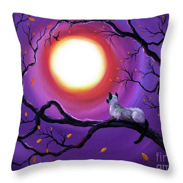 Siamese Cat In Purple Moonlight Throw Pillow