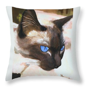 Siamese Cat Throw Pillow by Mary Jo Zorad