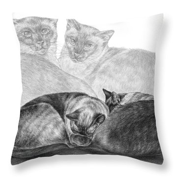 Siamese Cat Siesta Throw Pillow