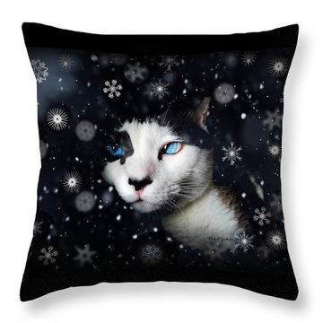 Siamese Cat Snowflakes Image   Throw Pillow