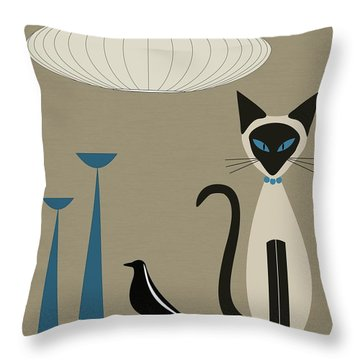 Siamese Cat With Eames House Bird Throw Pillow