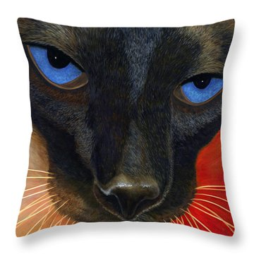 Throw Pillow featuring the painting Siamese by Karen Zuk Rosenblatt