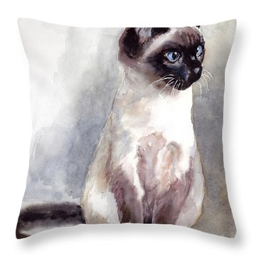 Siamese Kitten Portrait Throw Pillow