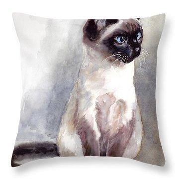 Siamese Kitten Portrait Throw Pillow
