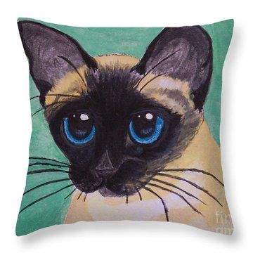Throw Pillow featuring the painting Siamese by Leslie Allen