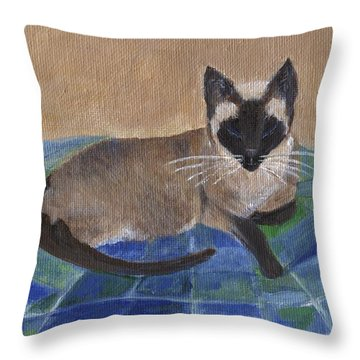 Throw Pillow featuring the painting Siamese Nap by Jamie Frier