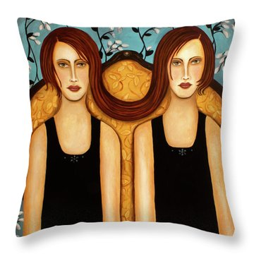 Siamese Twins Throw Pillow by Leah Saulnier The Painting Maniac