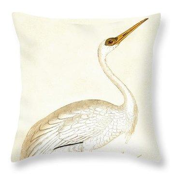 Siberian Crane Throw Pillow by English School