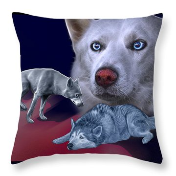Siberian Husky - Modern Dog Art - 0002 Throw Pillow
